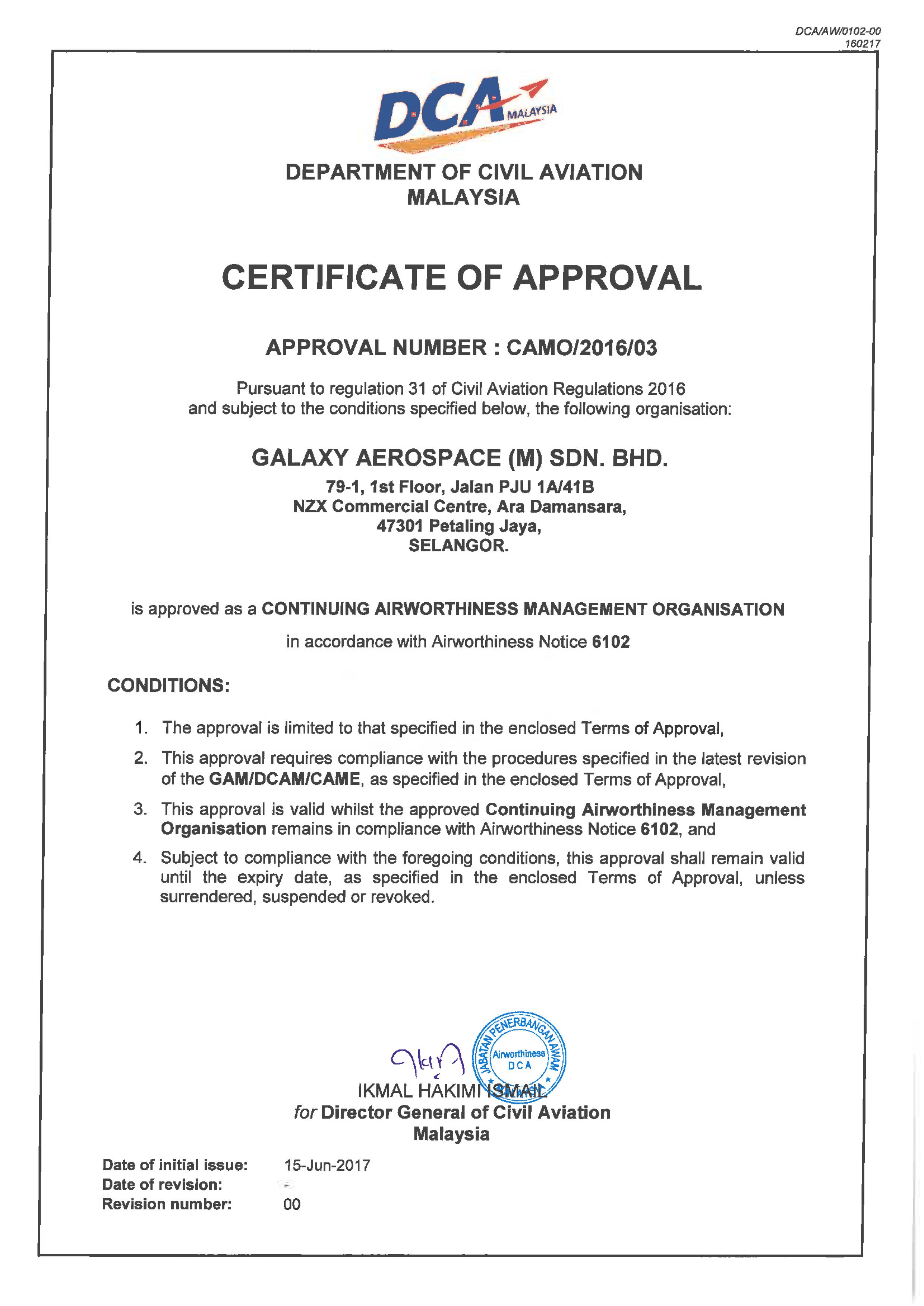 Approval Amp Capabilities Galaxy Aerospace M Sdn Bhd